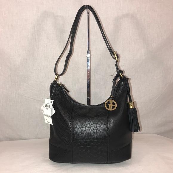 Giani Bernini Handbags - Giani Bernini Pebble Weave Black Leather Tote